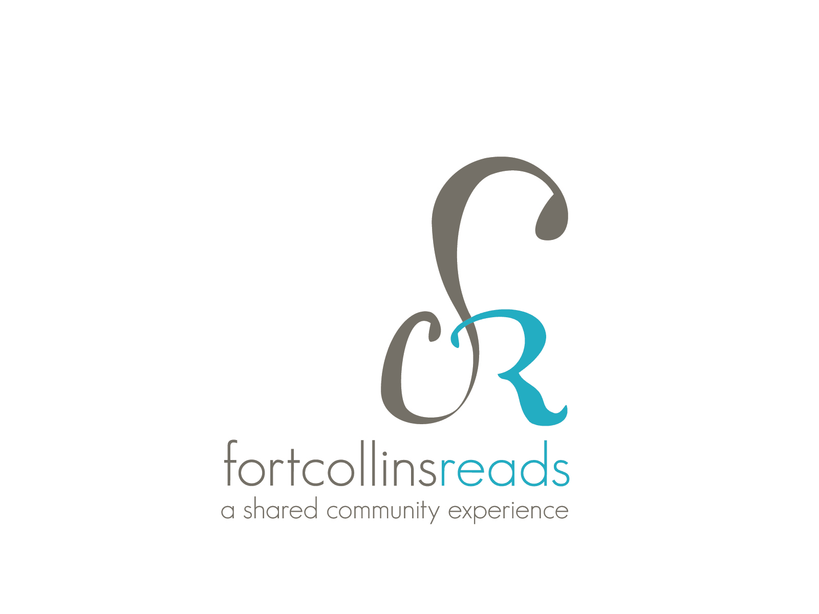 Logo concept for Fort Collins Reads in color and black and white.