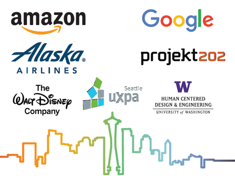 Event sponsors: Amazon, Google, Alaska Airlines, project202, The Walt Disney Company, Seattle UXPA, University of Washington Human Centered Design & Engineering