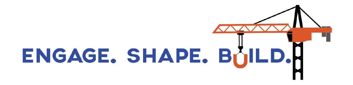 Logo for Engage.Shape.Build. public meeting series