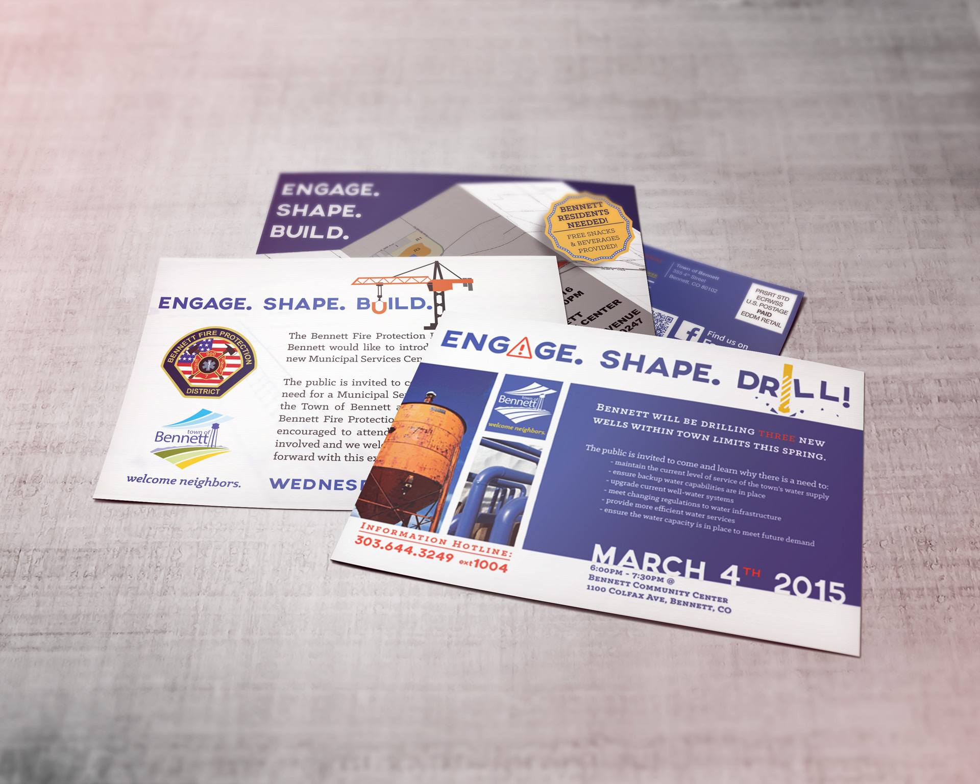Mockup featuring postcards from Engage.Shape.Build. series